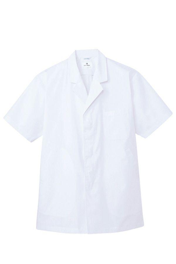 女性 衿付き 白衣 半袖