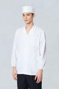 男性衿付き白衣長袖 UP