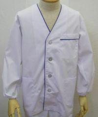 男性紺ライン白衣長袖 UP