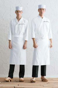 白衣七分袖男女兼用 前掛け 帽子 全身