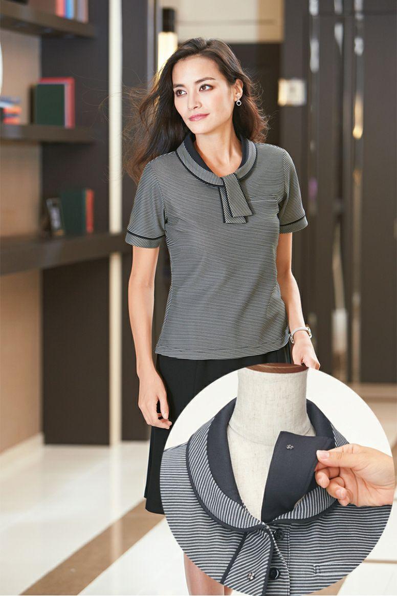 女性ポロシャツ半袖  衿UP