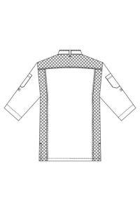 コックシャツ七分袖男女兼用 イラスト バックスタイル