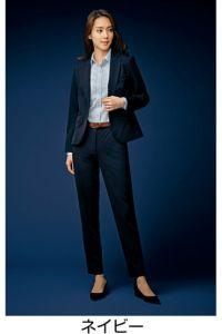 モデル着用 パンツスタイル 全身 ネイビー 前 ツイストニットカルゼ ポリエステル100% ホームクリーニング ストレッチ