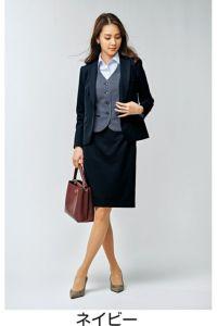 モデル着用 スカート 全身 ネイビー 前 ツイストニットカルゼ ポリエステル100% ホームクリーニング ストレッチ