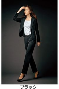 モデル着用 パンツスタイル 全身 横 ブラック 前 ツイストニットカルゼ ポリエステル100% ホームクリーニング ストレッチ