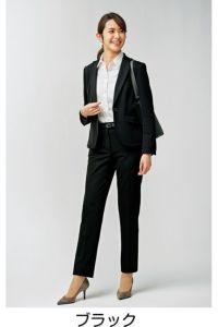 モデル着用 パンツスタイル 全身 ブラック 前 ツイストニットカルゼ ポリエステル100% ホームクリーニング ストレッチ